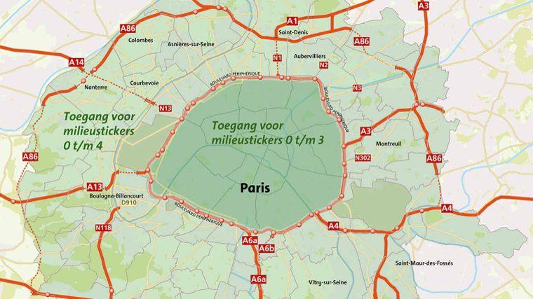 Milieusticker Frankrijk overzicht