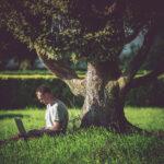 Wifi op de Camping - man op laptop onder boom